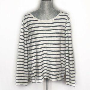 LOFT Top Long Sleeve Stripe Round Neck Text (BB20)